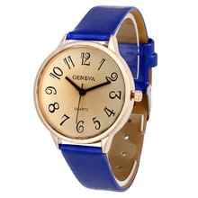 Feminine Arabic numbers easy Leather-based belt quartz Wrist Watch Blue