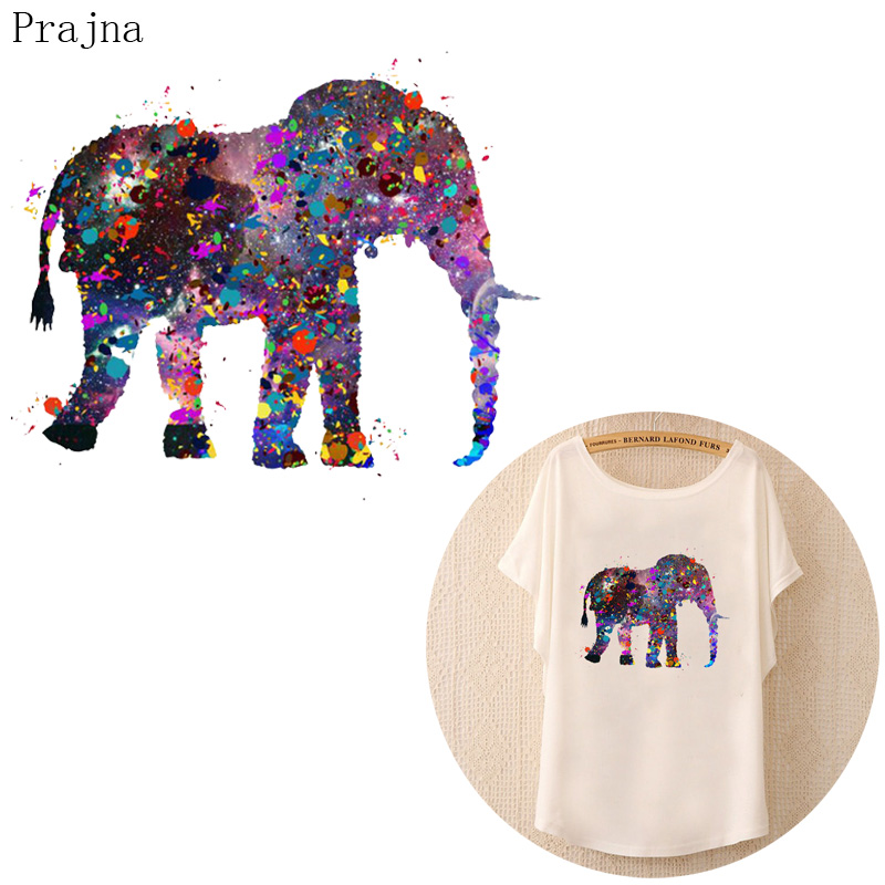 Prajna 3D Elephant Patch Iron On Transfer For Clothes T shirt Heat Transfer Vinyl Sticker Thermal Jeans Fabric Patch Applique