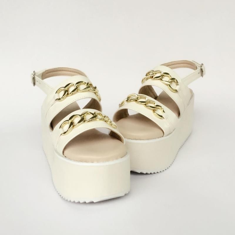 Personnalisées An7526 D'été Sandales Casual Douce Métal Épais Chaussures Fond Ornements Princesse En Confortable Lolita Beige Pantoufles 6xwnSz04q