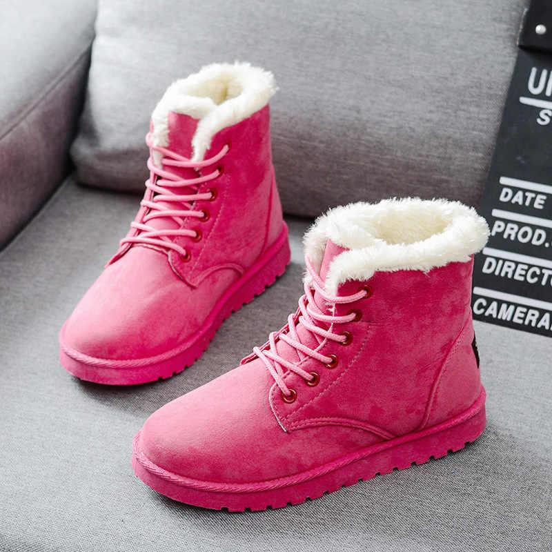 Bayan Botları Sıcak Kış Kadın Ayakkabı Artı Boyutu Kadın Sahte Süet bileğe kadar bot Kadın Botas Mujer Peluş Bayanlar Kar Botları WSH3132
