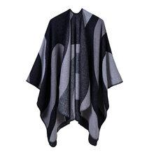 2018 nuevo invierno poncho y para las mujeres de punto grueso cálido señora  bufanda manta rayas b3bbd0a7c99