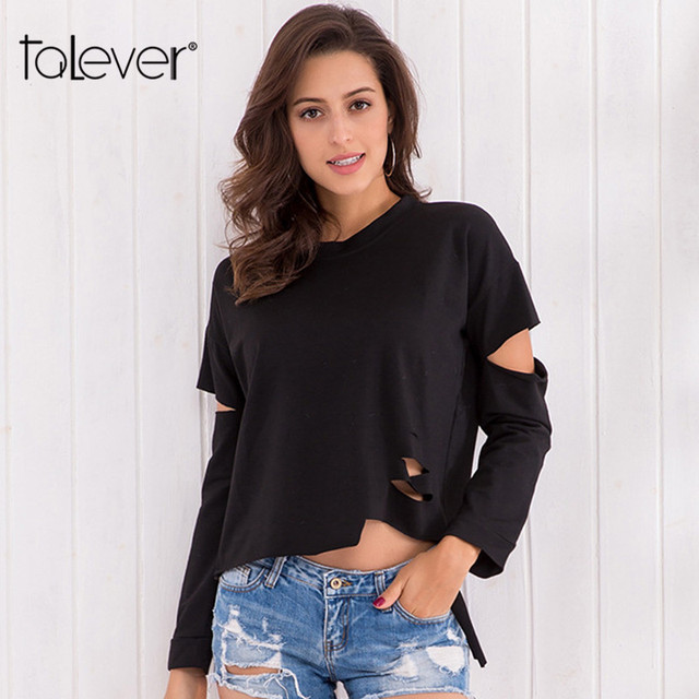 a442851f4f3 2018 Casual Woman's Autumn Short Office Lady Tops Summer T-shirt Women Tops  Fashion Solid black O-Neck Tee Female Talever