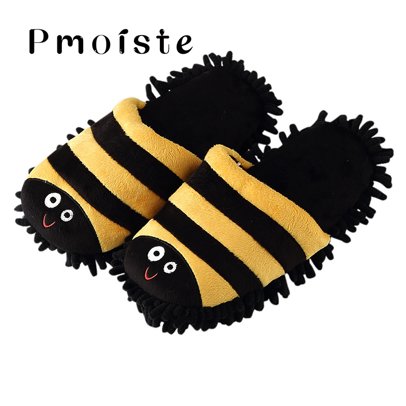 Lovely Animal slippers women Winter Indoor shoes for Girls Big size 41 44 Suede Mop House slipper Cartoon Bee Beetle Dog in Slippers from Shoes