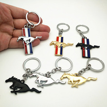 Three styles Car Styling Metal New 3D Horse Emblem Badge KeyChain keyring Key Chain Ring Fit for Ford Mustang GT 500 Cobra