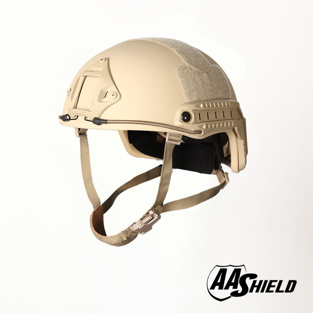 AA Shield Ballistic ACH High Cut Tactical Teijin Helmet Color TAN Bulletproof FAST Aramid Safety NIJ Level IIIA Military Army
