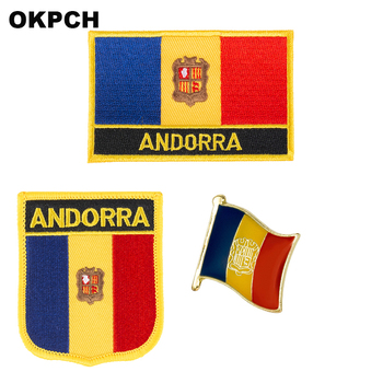 Andorra National Flag Embroidered Iron on Patches for Clothing Metal badges PT0014-3 image