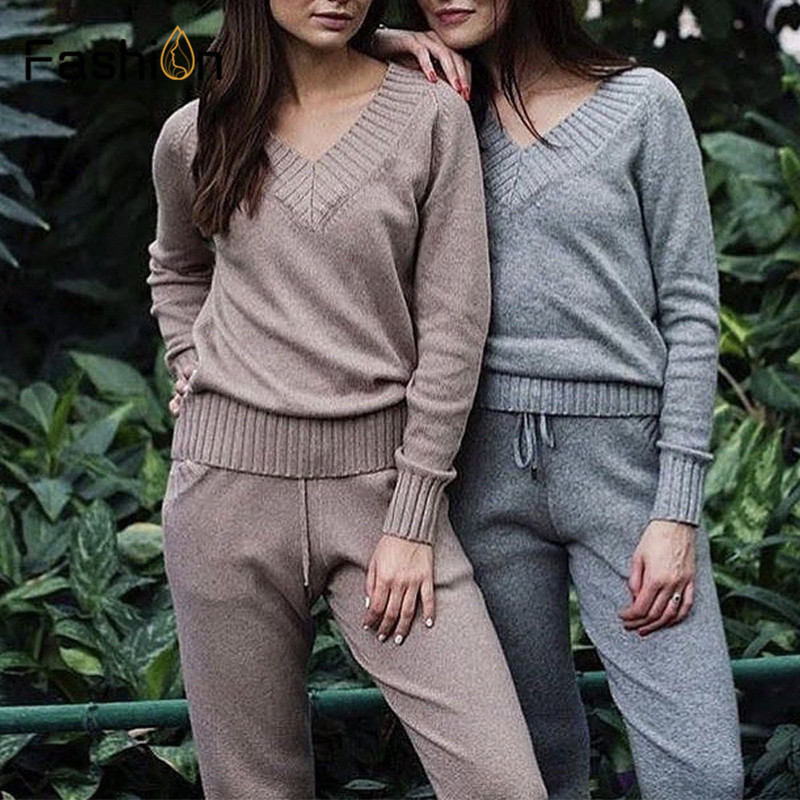 Women Sweater Suit and sets Knitted Sweaters Pants 2PCS Track Suits Woman Casual Knitted Trousers+Jumper Tops Clothing Set