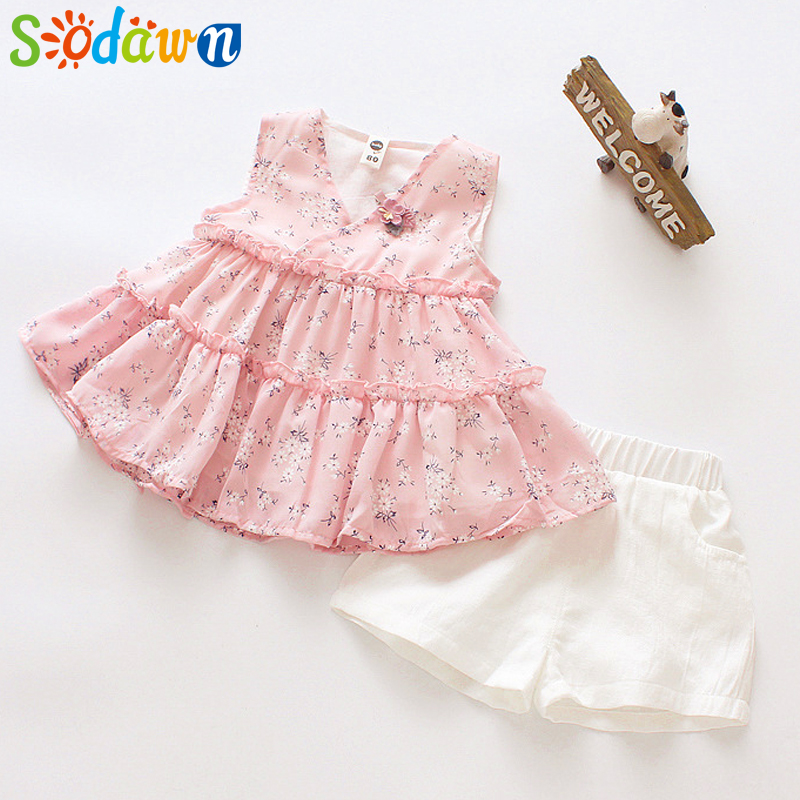Sodawn 2018 Summer New Girl Short-Sleeved Suit In The Children Clothing Floral Top + Shorts 2pcs Fashion Sweet Girls Clothes