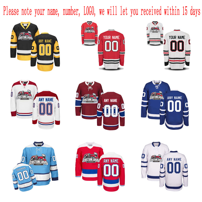 Customized Any ICE Hockey Jerseys Any logo/Name/Number/ Embroidery Wholesale From China Free Shipping sent to 15 days new arrived 2016 team uniform factory oem hockey jerseys embroidery mens tackle twill usa canada czech republic australia
