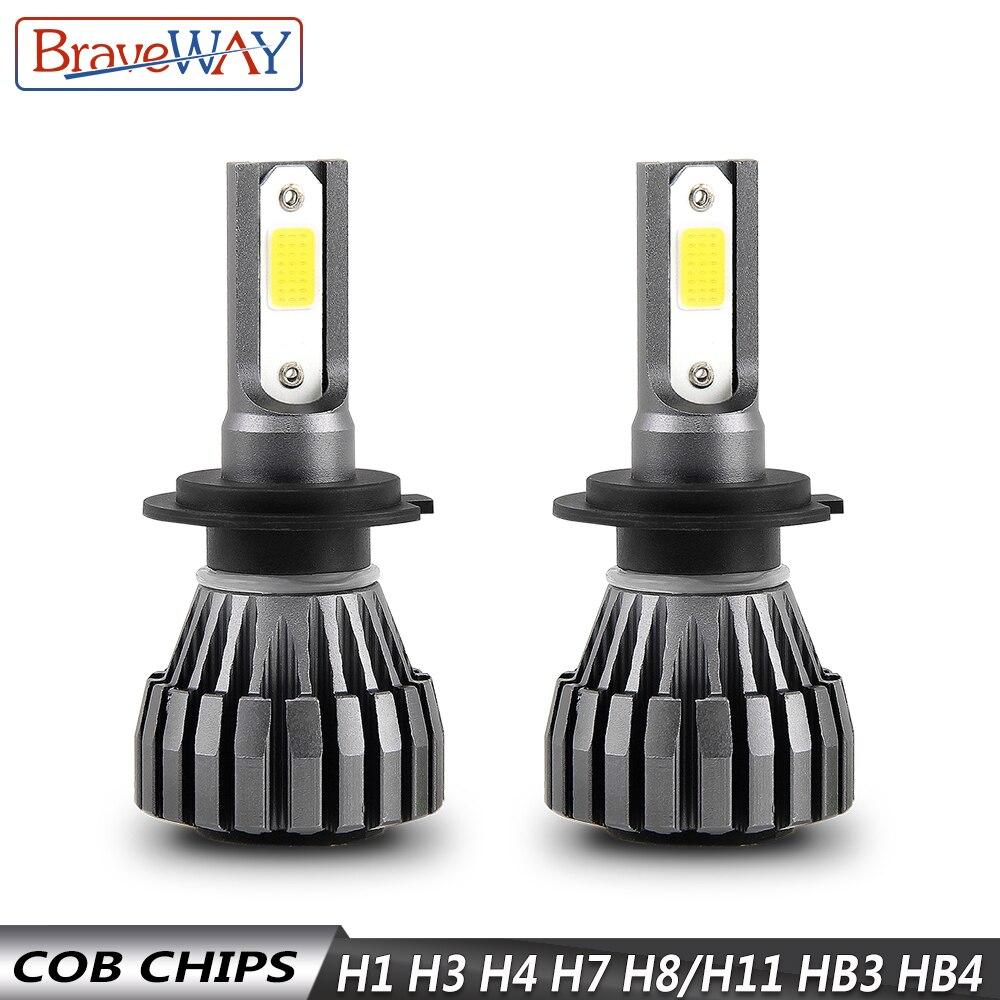 BraveWay 8000LM 12 V Fanless Lâmpadas LED para o Carro Da Motocicleta H4 H7 H1 H3 H8 H11 HB3 HB4 9006 Nevoeiro lâmpadas H3 LEVOU Auto Farol