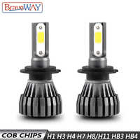 BraveWay 8000LM 12V Fanless LED Bulbs for Car Motorcycle H4 H7 H1 H3 H8 H11 HB3 HB4 9006 Fog Lamps H3 LED Headlight Auto