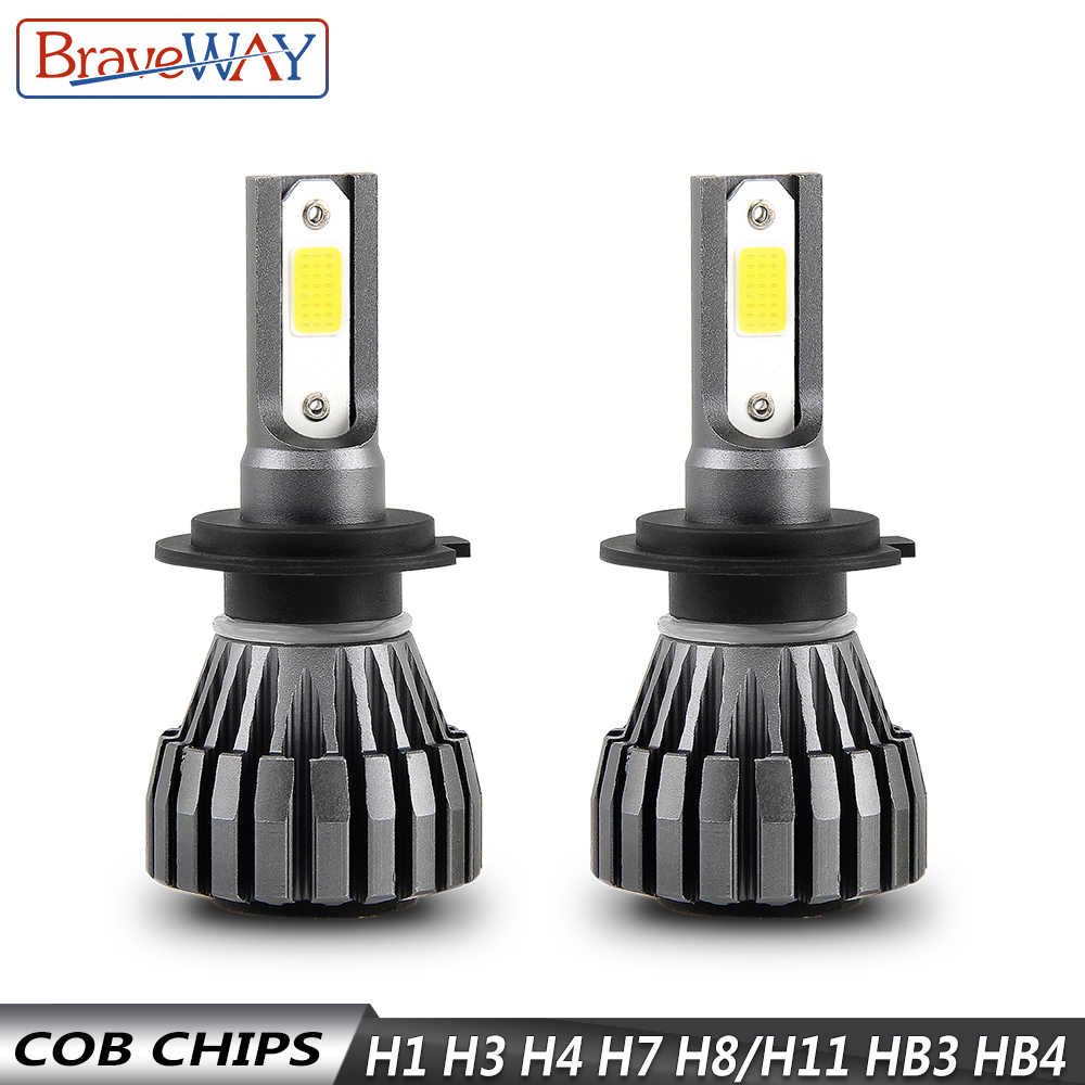 BraveWay 8000LM 12V Fanless LED Bulbs for Car Motorcycle H4 H7 H1 H3 H8 H11 HB3 HB4 9006 Fog Lamps H3 LED Headlight Auto