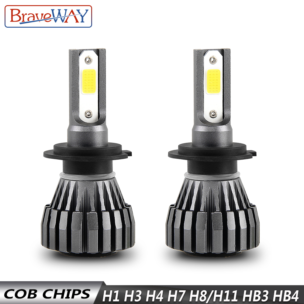 BraveWay 8000LM 12V Fanless LED Bulbs for Car Motorcycle H4 H7 H1 H3 H8 H11 HB3 HB4 9006 Fog Lamps H3 LED Headlight Auto in Car Headlight Bulbs LED from Automobiles Motorcycles
