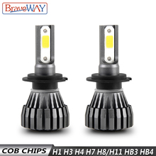 BraveWay 8000LM 12V Fanless LED Bulbs for Car Motorcycle H4 H7 H1 H3 H8 H11 HB3 HB4 9006 Fog Lamps Headlight Auto
