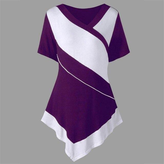 ea8ac7e60fd1 Plus Size Patchwork Irregular Hem Female T-shirt Wide Striped V Neck T Shirt  Fashion Tee Summer Short Sleeve Loose Casual Tee