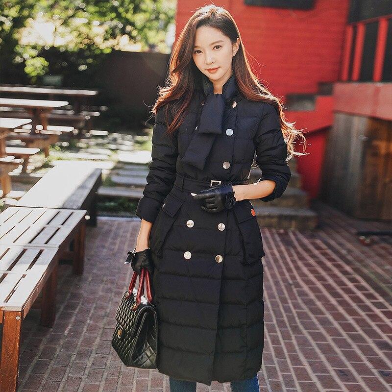 Dabuwawa Winter Sash Long Down Coat Women Double Breasted Parkas Jacket Outerwear Scarf Collar Down Duck Coats D18DDW014