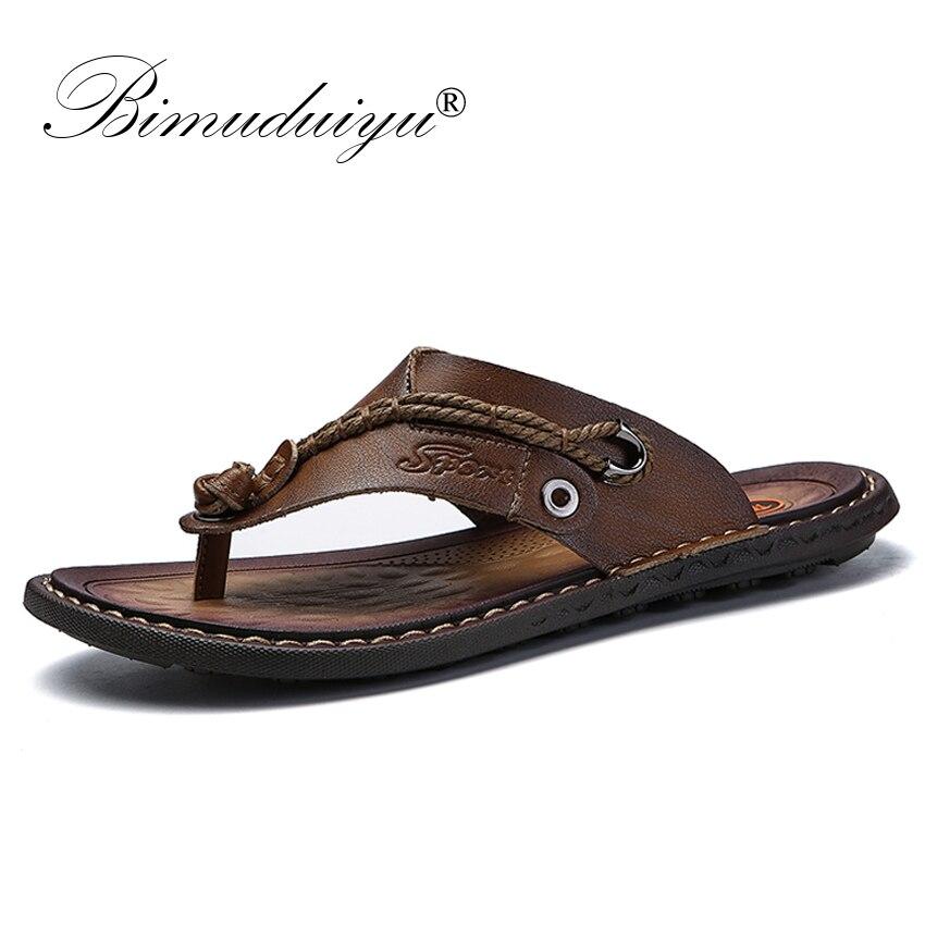BIMUDUIYU Brand Summer New Arrival Summer Cool Men Flip Flops Rubber Soft Beach Shoes Non slide Mens Slippers Massage FootwearFlip Flops   -