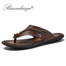 BIMUDUIYU marka lato nowy nabytek letnie fajne japonki męskie guma miękka buty na plażę antypoślizgowe męskie kapcie masaż obuwie