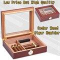 Humidificador de madera de cedro portátil de alta calidad COHIBA para 25 cigarros caja de almacenamiento humidificador de viaje con humidificador de ventana