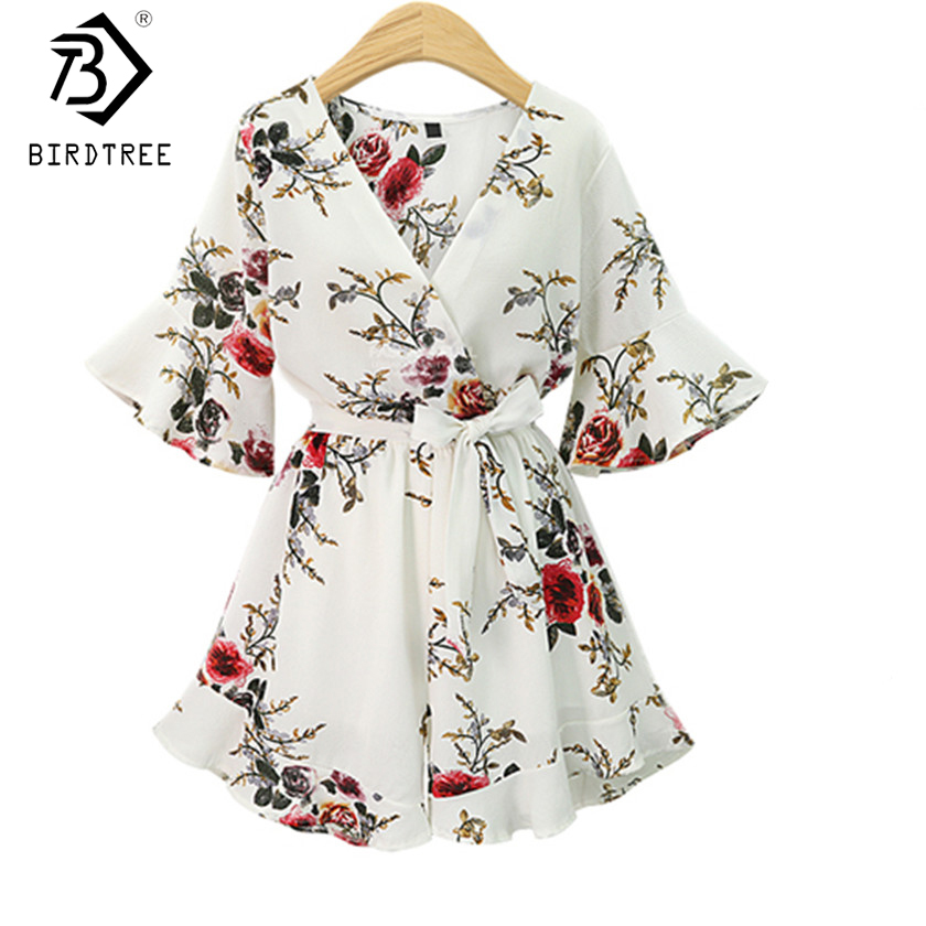 2018 Black Short Rompers Printing Flower V Neck Jumpsuit plus size 5XL Tie Waist Casual Summer Sexy Deep Women Jumpsuits S7N702A