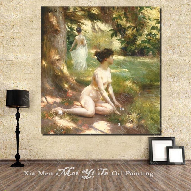 Impressionism Woman Figure Oil Painting Nude In The Forest Famous Canvas Art Free Shipping