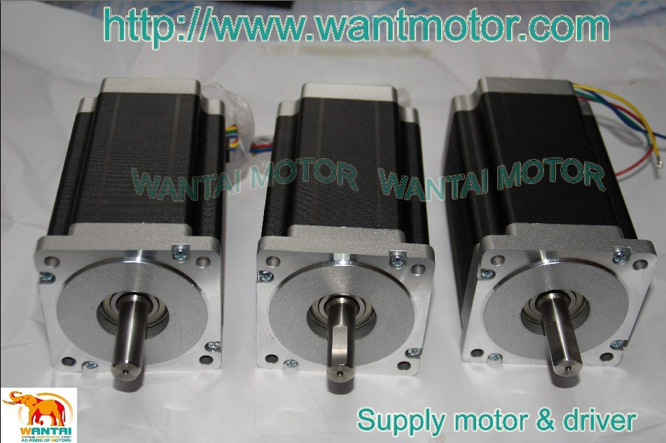 3 PCS WT85STH118-6004A SINGLE SHAFT OF NEMA34 WANTAI STEPPER MOTOR 1232OZ-IN,5.6A,118mm,4leads, bipolar connection 1 pc single shaft of nema34 stepper motor 1215oz in 4 2a 118mm 8 leads bipolar connection for engraving milling machine