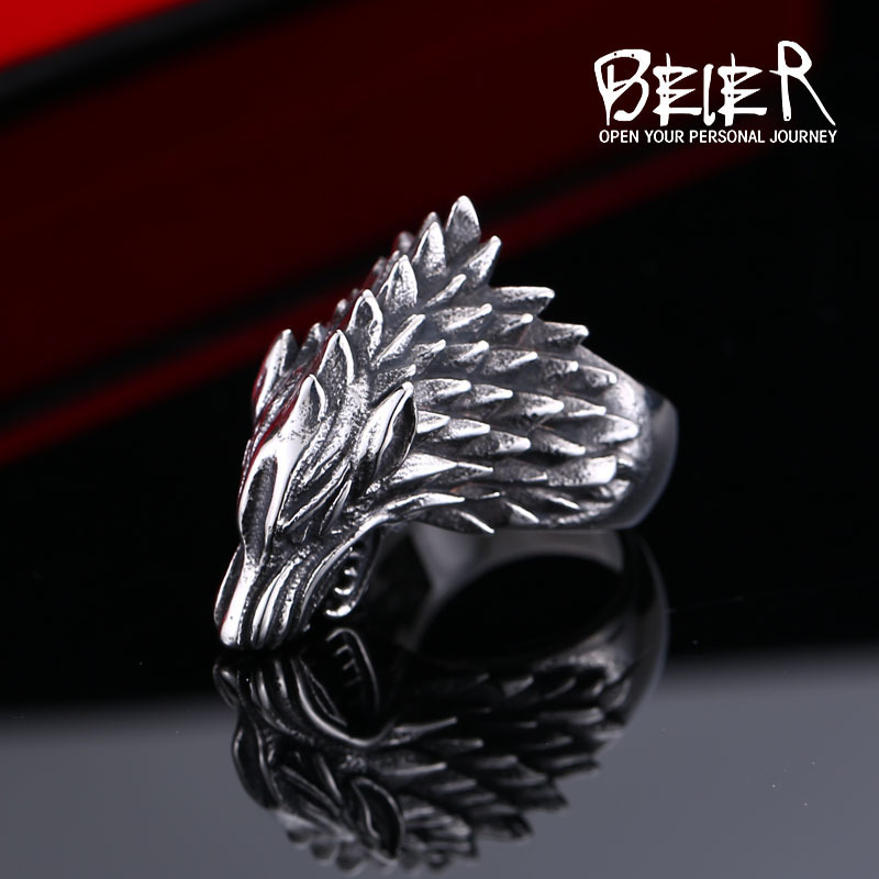 Beier nehrđajući čelik viking vuk prsten Igra prijestolja led vuk - Modni nakit - Foto 3