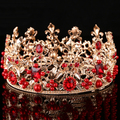 korea style women gold luxury rhinestone veil gorgeous pearl crown jewerly wedding bridal accessory tiara