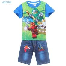 2017 Summer Children Clothing Sets Ninja Batman Cartoon Ninjago Power Suit Jeans Set Baby Boys T-shirt+pant 2pcs Kids Spinjitzu