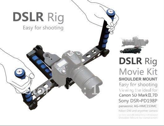 DSLR Handy DV Rig Support Stabilizer Movie Kit Shoulder Mount for canon 60d 5d2 6d Nikon D90 D7000 D800 D600 D3100 camera dslr dv rig movie kit shoulder mount steady support stabilizer for canon 5d mkii 5d3 6d 7d 60d 600d 700d 80d 760d camera