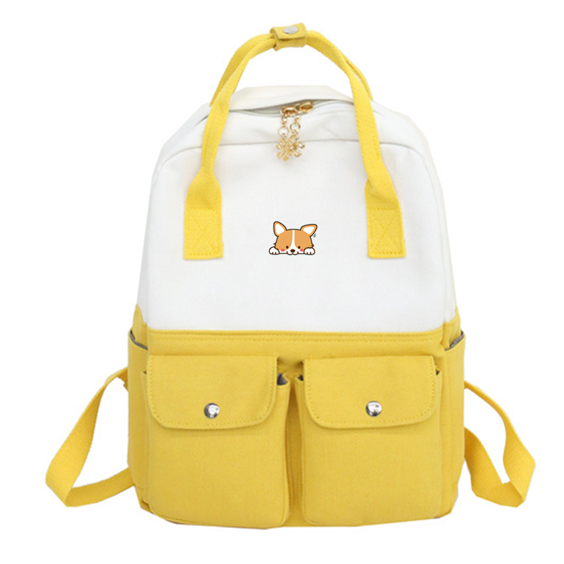 Shiba Inu Corgi Printing Backpack Casual Harajuku Hand Travel Rucksack Women Shoulder Pack School Bag Lolita Girl Satchel