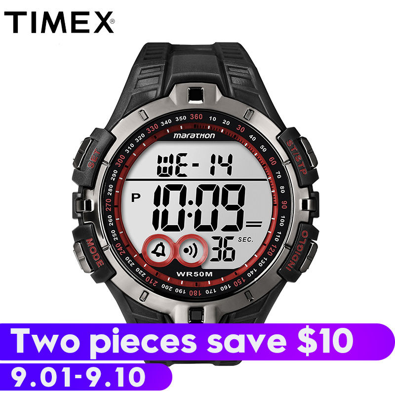 2018 For Timex Original Marathon Series Quartz Mens Watch T5k423 Sport Outdoor Indiglo Luminous Multi-function Resin Watches timex timex t5k423
