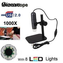 Wholesale Gizcam 50X-1000X 8 LED lightness Adjustable Digital Microscope Endoscope Microscopio Magnifier Camera with Stand Holder