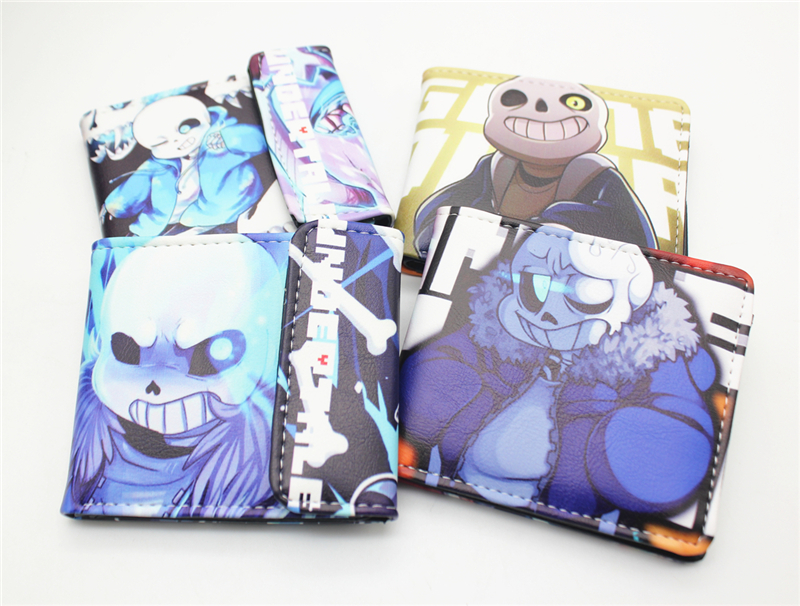 Undertale sans cartoon cosplay wallet mens credit card wallet short wallet bifold purse for boys cool gift 4 style