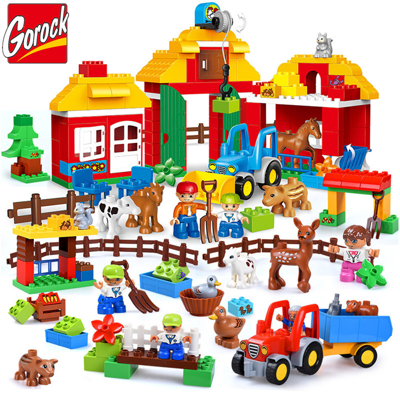 GOROCK 123Pcs Happy Farm Large Building Blocks Happy Zoo With Animals Sets For Kids DIY Toys