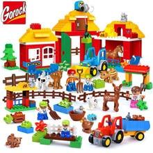 GOROCK 123 шт. Happy Farm большие строительные блоки счастливый зоопарк с животными наборы для детей DIY игрушки Совместимые LegoINGs Duplo кирпичи