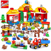 GOROCK 123Pcs Happy Farm Large Building Blocks Happy Zoo With Animals Sets For Kids DIY Toys Compatible LegoINGs Duplo Bricks