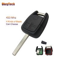 OkeyTech 433Mhz ID40 Transponder Chip 3 Buttons Flip Car Remote Control Key Fob For Opel Astra