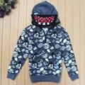 Niños/Niños Otoño Carta Shark Máscara de Capa de la Chaqueta de Moda Sudaderas Con Capucha de Algodón/Manteau/Ropa Para Niños/Garcon/Jongens