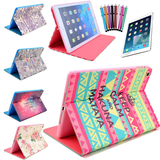 5 in 1 Hybrid PU Leather Flip Stand Smart Case Cover For iPad mini mini 2 mini 3 Screen Protector Film Stylus Pen Free shipping ...