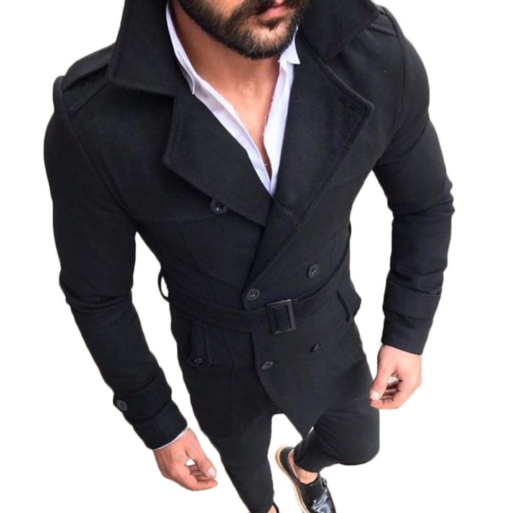 2018 Mens Trench Coat Classic Double Breasted Men Coat Fashion Mens Clothing Male Lapel Long Coats British Style Overcoat