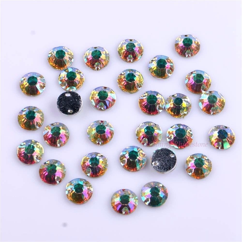10mm 50st / pack Crystal AB Sy på rhinestones Round Resin DIY - Konst, hantverk och sömnad - Foto 4