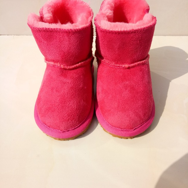 Hard soles boots soft fur warm winter genuine leather baby girl boots moccasins shoes kids leopard toddler moccas soft baby boot