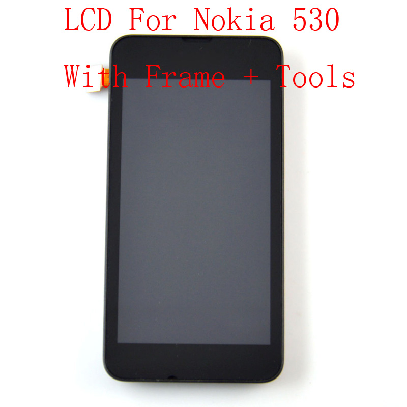 A++ Quality For Nokia Lumia 530 LCD Display Touch Screen Digitizer Assembly + Bezel Frame Replacements Part +Tools + Track No