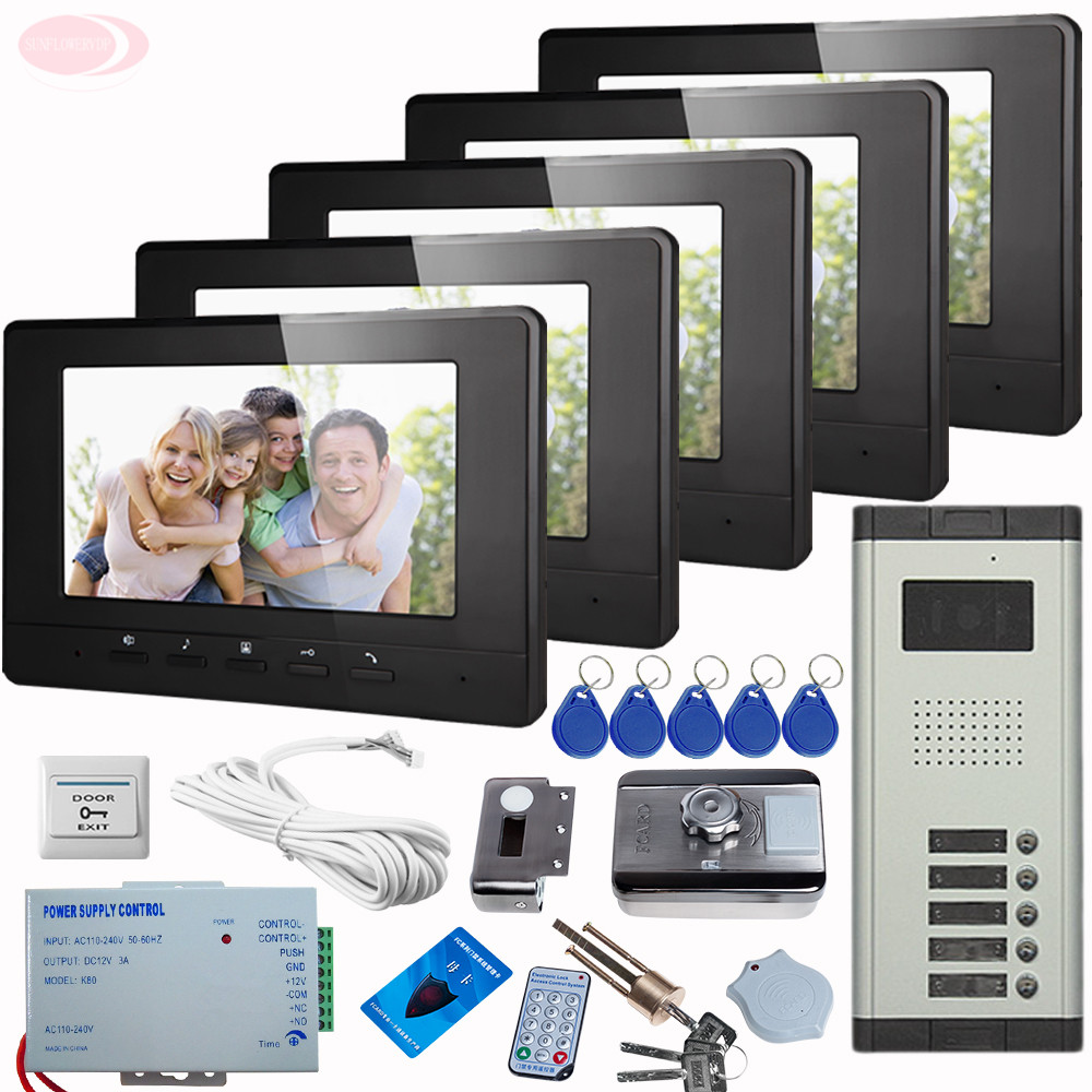 где купить SUNFLOWERVDP Doorphone For Video Intercom Interphone 5 units With Rfid Unlock Electronic Lock CCD Camera Doorbell intercom Kit дешево