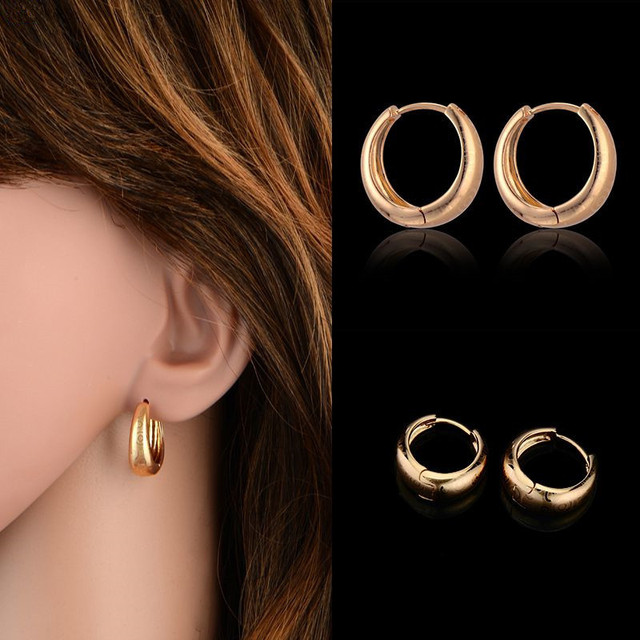 Cl Brand New Trendy Exquisite Round Small Hoop Earrings For Women S Gold Plated Vitage Jewelry