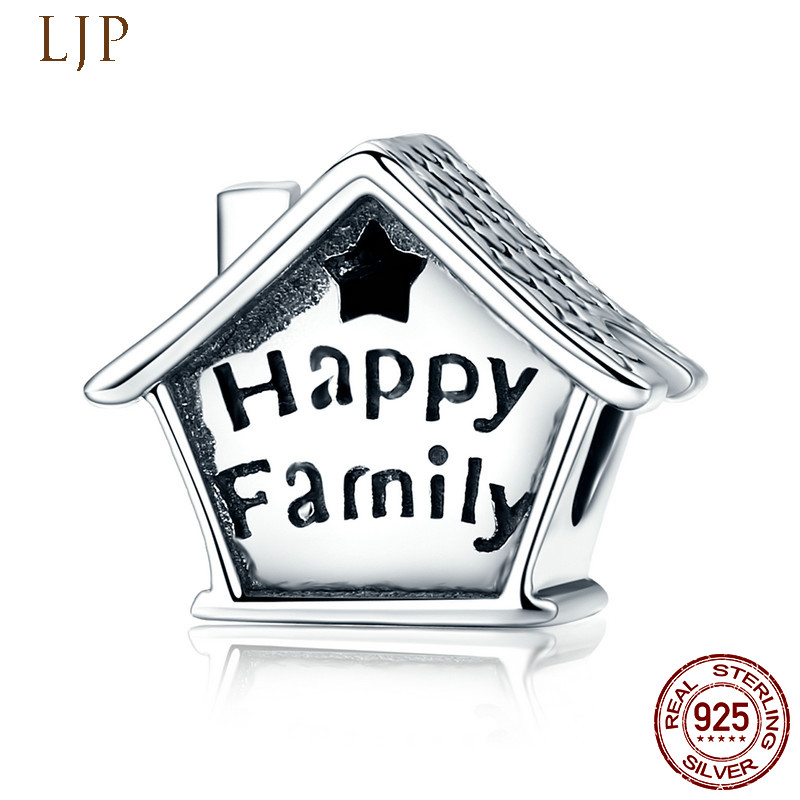 LJP Summer Style 925 Sterling Silver Pass by Love Happy Family Charm Beads Fit Original Pandora Bracelet DIY Charms Jewelry