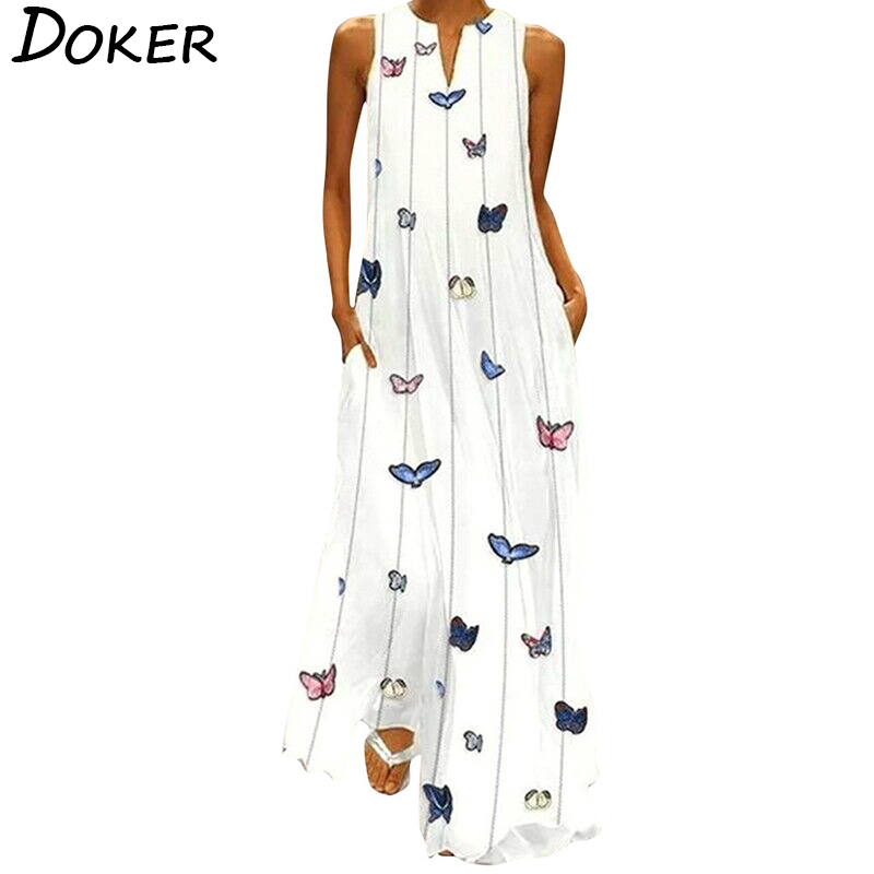 Summer Plus Size Bohemian Print Maxi Dress Women Daily Casual Sleeveless Striped Butterfly Print Loose Beach Dress With Pocket