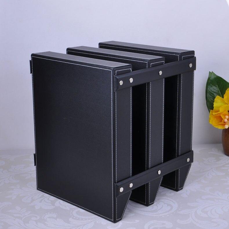 18dfc0f2793f7 3 warstwa odpinany biuro ooden Skórzane biurko składania dokumentów taca  pudełko do przechowywania organizator stojak na czasopisma tace stojak  czarny 211A ...