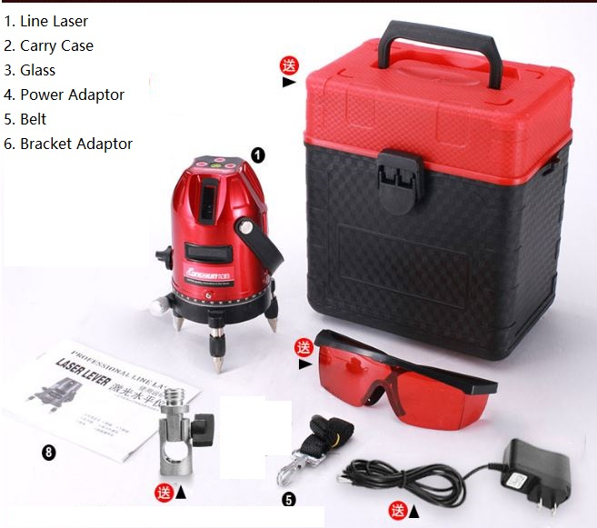 Laser Level 5 Lines 6 Points Level with Tilt Slash Function/360 Rotary Self Leveling Indoor Outdoor 635nm Red xeast xe 50r new arrival 5 lines 6 points laser level 360 rotary cross lazer line leveling with tilt function
